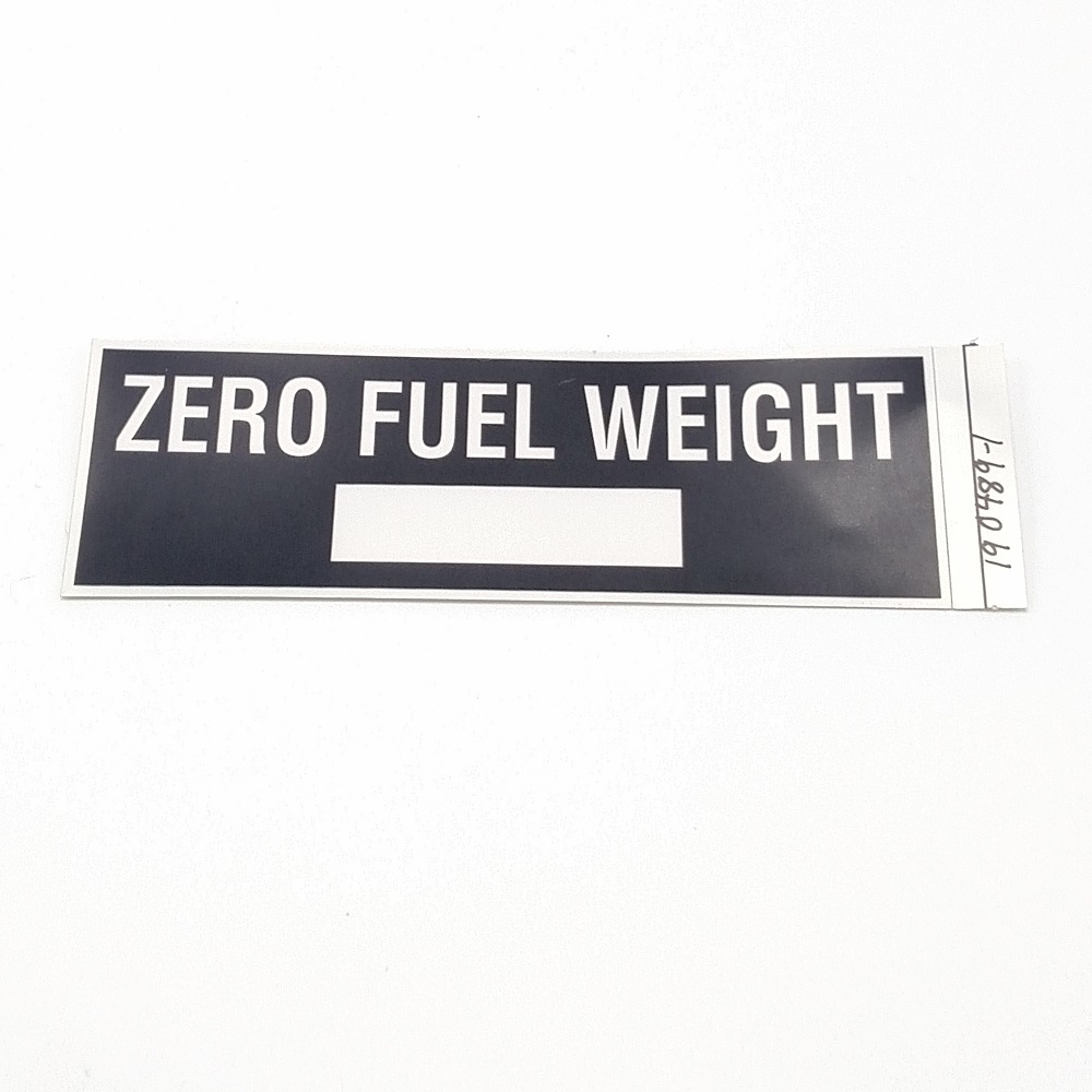 T-019 Zero Weight Fuel Placard