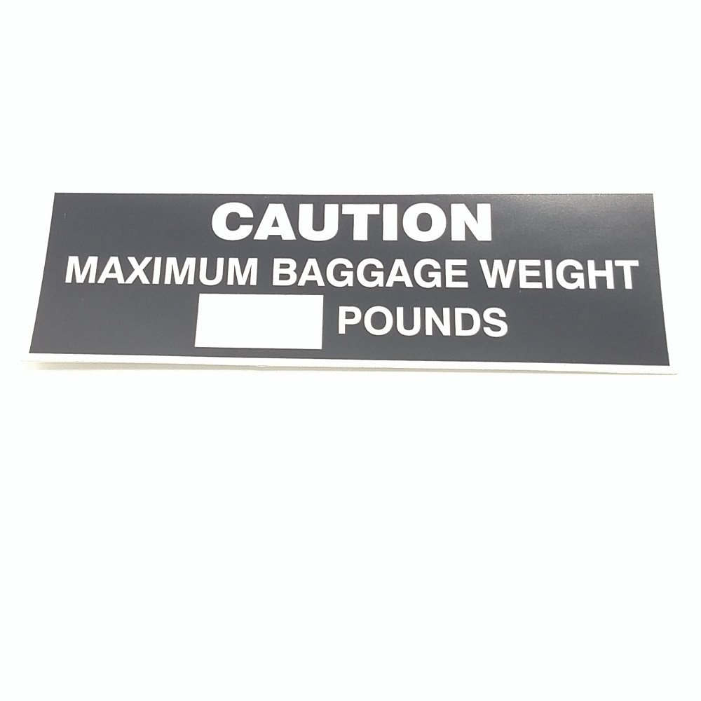 T-020 Max Baggage Weight placard
